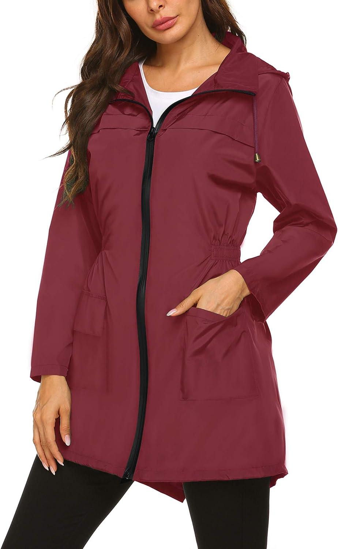 Besshopie Rain OFFicial Jacket Women Waterproof Lightweight Packable Over item handling ☆ Hood
