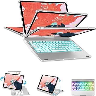 ipad pro 11 キーボード 2018 SENGBIRCH 360度回転 180度反転 7色バックライト付き Apple pencil充電対応 オートスリップ機能 ワイヤレス bluetooth ipad pro11 インチ ケースキーボード(ipad pro11 360 シルバー)