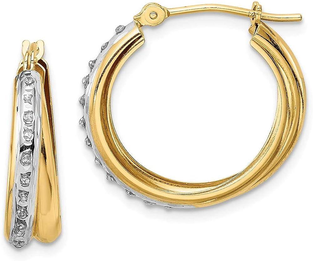 14k Two Tone Yellow Gold Diamond Fascination Double Hoop Earrings Ear Hoops Set Fine Jewelry For Women Gifts For Her