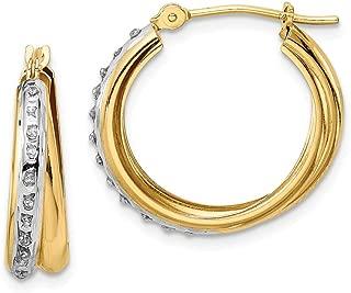 14k Two Tone Yellow Gold Diamond Fascination Double Hoop Earrings Ear Hoops Set Fine Jewelry Gifts For Women For Her