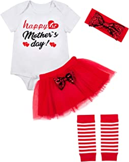 Baby Girl Happy Mother's Day Outfits Short Sleeve Infant Clothes Set + Headband + Legging Warmer
