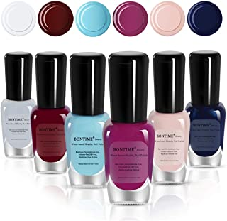 BONTIME Non-Toxic Nail Polish - Easy Peel Off & Quick Dry, Organic Water Based Nail Polish Set for Women,Teens,Kids(6 Colors,0.28 fl oz)