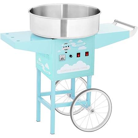 Royal Catering Machine À Barbe À Papa Set RCZK-1200-BG (1200 W, Cuve De 52 Cm, Sur Chariot, Protections Électriques, Acier Inoxydable/Alu, Bâti Turquoise)