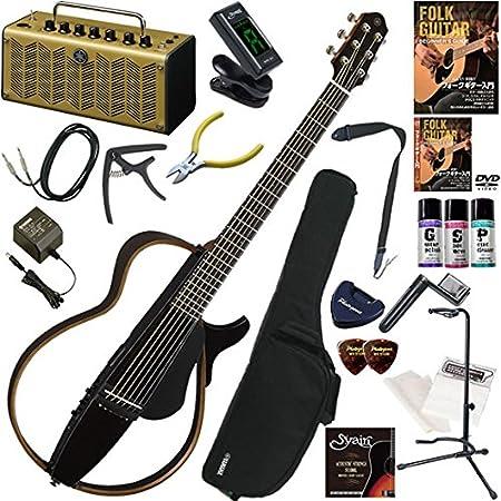 YAMAHA サイレントギター初心者入門 レトロなデザインのYAMAHA THR5Aが入ってる大人の20点セット SLG200S/BM(ブラックメタリック)