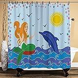 huagu Rideau de Douche,Dolphin and Mermaid Girl on The Sea Blue Waves Colorful Summer Time Drawing Rideau de Douche Imperméable avec Crochets 150cmx180cm