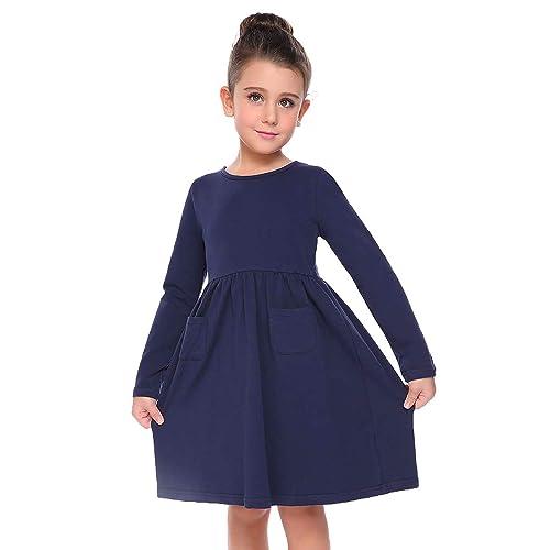 Arshiner Little Girls Dress Long Sleeve Solid Color Casual Skater Pocket  Dress f7586a281