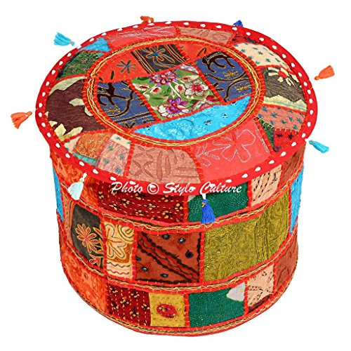 Stylo Culture Baumwolle Ottoman Hocker Umbau Patchwork Ottoman Hocker Pouf Abdeckung Multi Farbe Floral