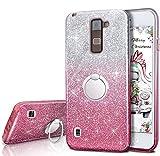 LG Stylo 2V Fall, LG Stylo 2/Stylo 2Plus/Stylus 2Glitter Hülle, Silverback Mädchen Bling Glitzer Tasche mit 360drehbarem Ring Ständer, 3Schichten Cover für für LG ls775, rose
