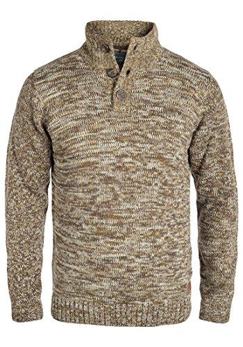 Blend Teno Herren Winter Pullover Strickpullover Troyer Grobstrick mit Knopfleiste, Größe:XXL, Farbe:Dark Mustard (75116)
