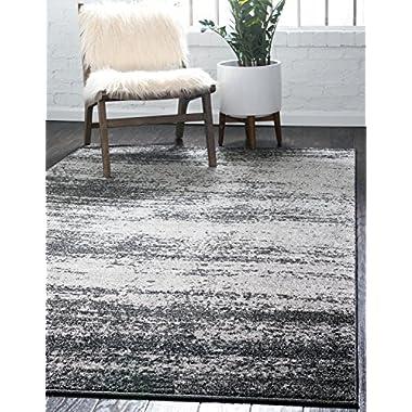 Unique Loom Del Mar Collection Dark Gray Area Rug (5' x 8')