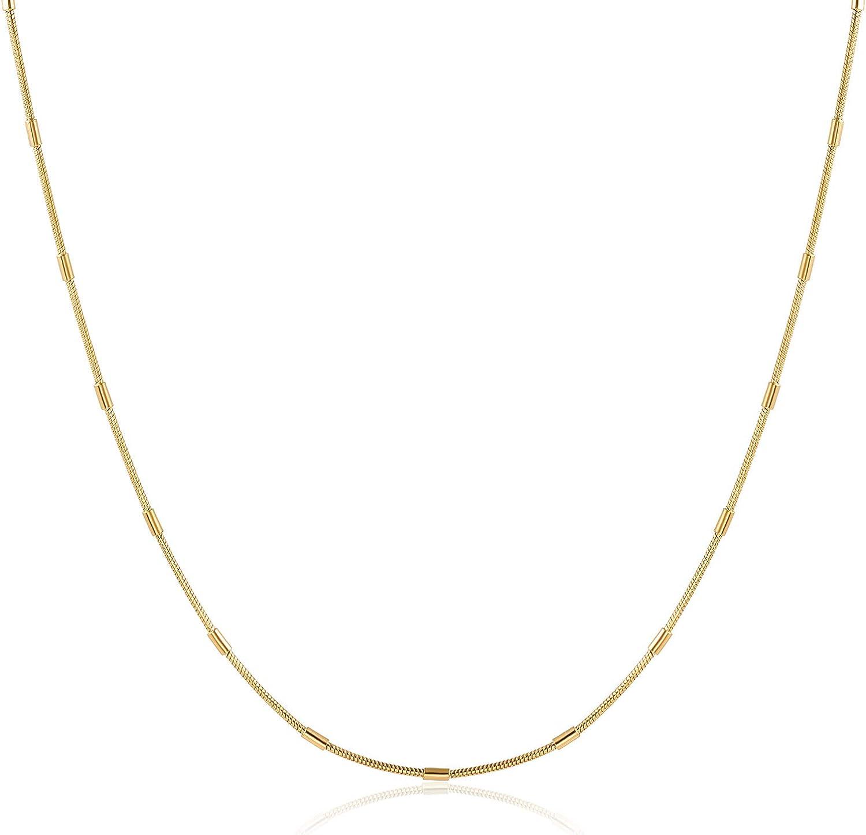 HAWSON Snake Chain Necklace for Women Men, 18k Gold Filled Snake Chain Choker, Stacking Layering Necklaces for Girls, Herringbone Chain Necklace, Flat Chain, Strand Collars Choker 16