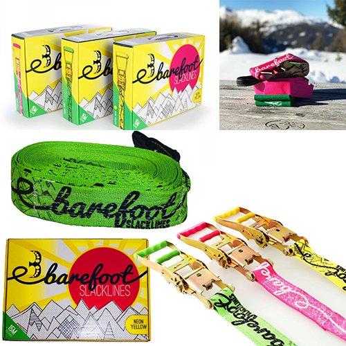Barfuß (Barefoot) SLACKLINE 15m Set - Großer Wert inklusive Ratchet + Straps + Bag! Perfekte Balance Slack Line Für Alle Altersstufen Und Geschicklichkeit (Rosa)
