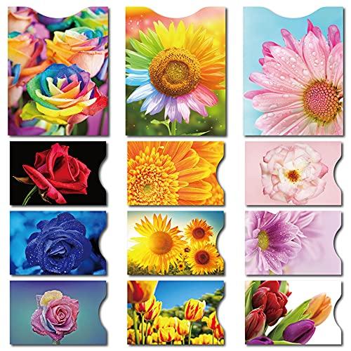 CARSLIFE 12 RFID Blocking Sleeves (9 Credit card sleeves & 3 passport sleeves) Anti RFID Identity Theft Protection,Beautiful flowers design