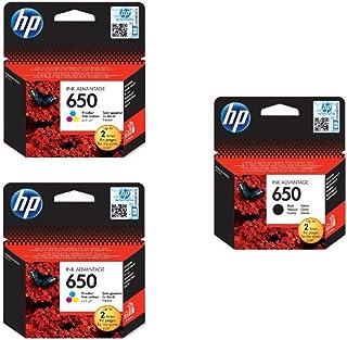 Hp Cz101ak 650 Black Ink Cartridge And Cz102ak 650 Tri Color Ink Cartridges, 2 Pieces