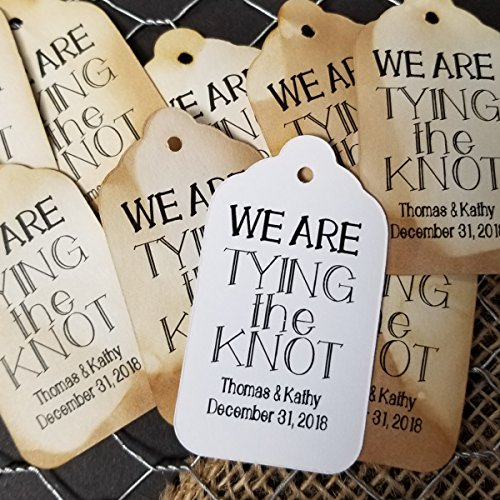 "We are Tying the Knot Personalized White or Tea Stained Favor Tag sets of 50 Tags (my MEDIUM tag) 1 3/8"" x 2 1/2"""
