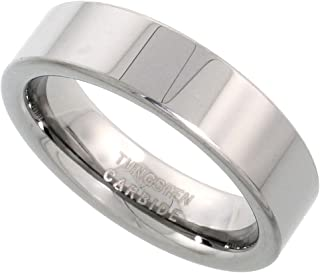 Tungsten Carbide 6 mm Pipe Cut Wedding Band Ring for Men and Women Polished Comfort fit, Sizes 5-12