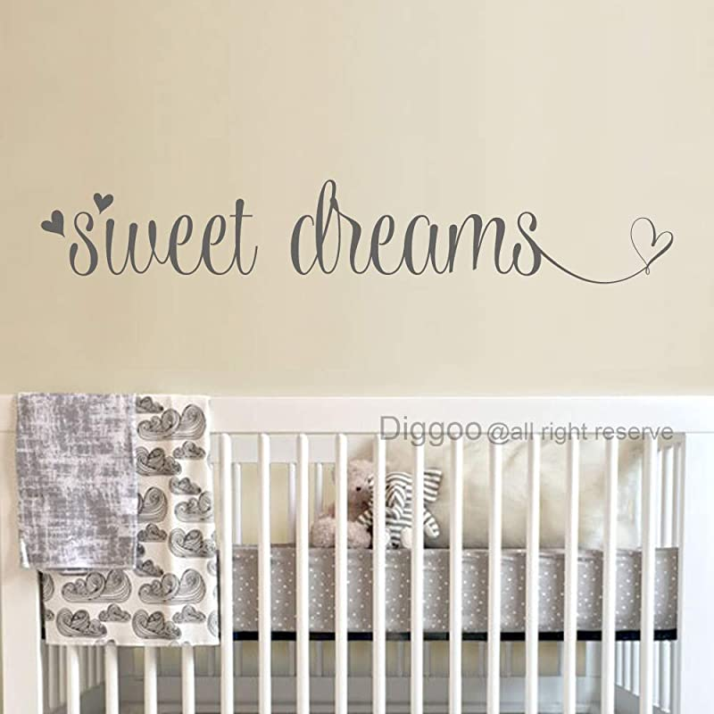 Sweet Dreams Wall Decal Over Crib Vinyl Sticker Sweet Dreams Wall Art Quotes Decals For Nursery Gray 4 H X 22 W