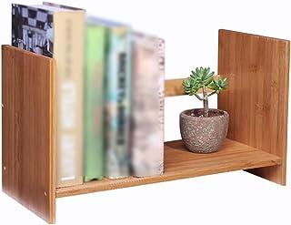 Bookshelf, Small Bookshelf Storage Rack For Office Desk, Bamboo Table Shelf For Study Bedroom Balcony XJJUN (Color : Wood,...