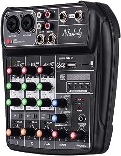Muslady Mischpult AI-4 Kompakt Digital Audio Mixer 4-Kanal BT MP3 USB-Eingang + 48V Phantomspeisung zum Musikaufnahme DJ-N...