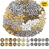 EuTengHao 600pcs Spacer Beads Jewelry Bead Charm Spacers Alloy Spacer Beads for Jewelry Making DIY Bracelets Necklace and Crafting (12 Styles,Silver and Gold)