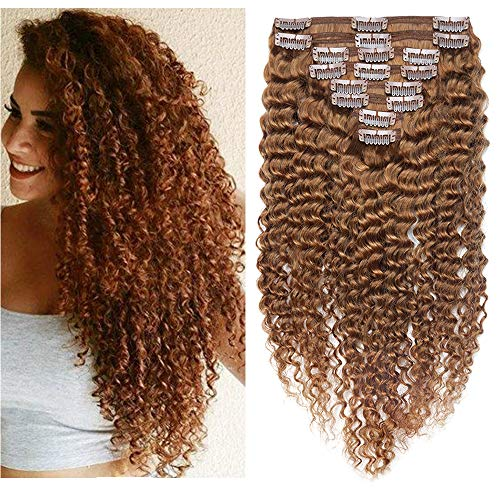 SEGO Clip In Hair Extension Afro Kinkycurly Clips Tissage Afro Rajout - 22 Pouce (55CM) 30# Auburn Clair [Double Wefts Maxi Volume] 100% Vrai Humains Boucle Ondule
