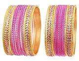 Touchstone Metallische Bunte 2 Dutzend spezielle Armbandarmbänder des Armbandansammlungsschmucks für Damen 2.75 Set 2 Fuchsia Rosa
