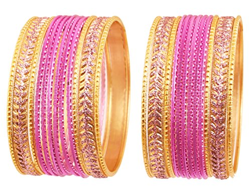 Touchstone New Metallic Colorful 2 Dozen Bangle Collection Indian Bollywood Textured Fuchsia Golden Color Jewelry Special Large Size Bangle Bracelets Set of 24 in Antique Gold Tone for Women