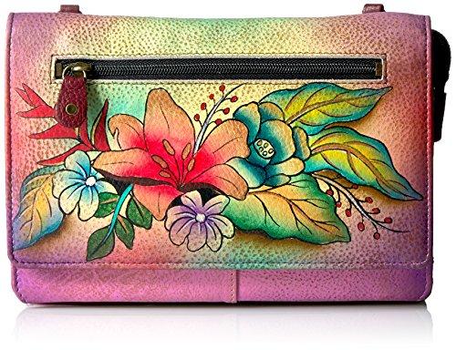 Anna by Anuschka Damen-Geldbörse aus echtem Leder mit Schnur, (Tropischer Blumenstrauß), Einheitsgröße