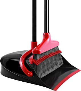 Homemaxs Broom and Dustpan Set, [Newest 2020] Long Handle Broom with Dustpan, Upright Dustpan with Upgrade Combo for Thoro...