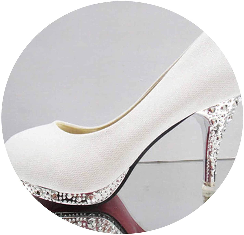 Crystal Women High Heels Sexy Wedding Pumps Ladies Shallow Rhinestone Glitter Slip On shoes