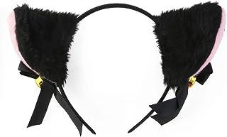 BESTOYARD Sweet Lovely Anime Lolita Cosplay Headband with Bowknot and Bell Cute Plush Cat Ear Headband Fancy Dress Cosplay...