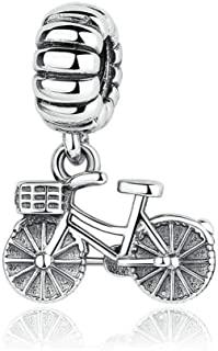Skateboard/Bicycle Dangle Charm with Clear CZ Love Sport Silver Bead fit Pandora Bracelets