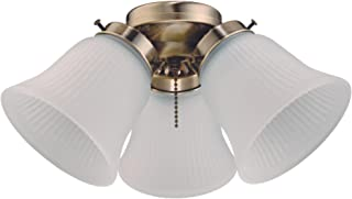Westinghouse Lighting 7784800 Three LED Cluster Ceiling Fan Light Kit, Antique Brass Finish with Frosted Ribbed Glass, 1 Pack, White