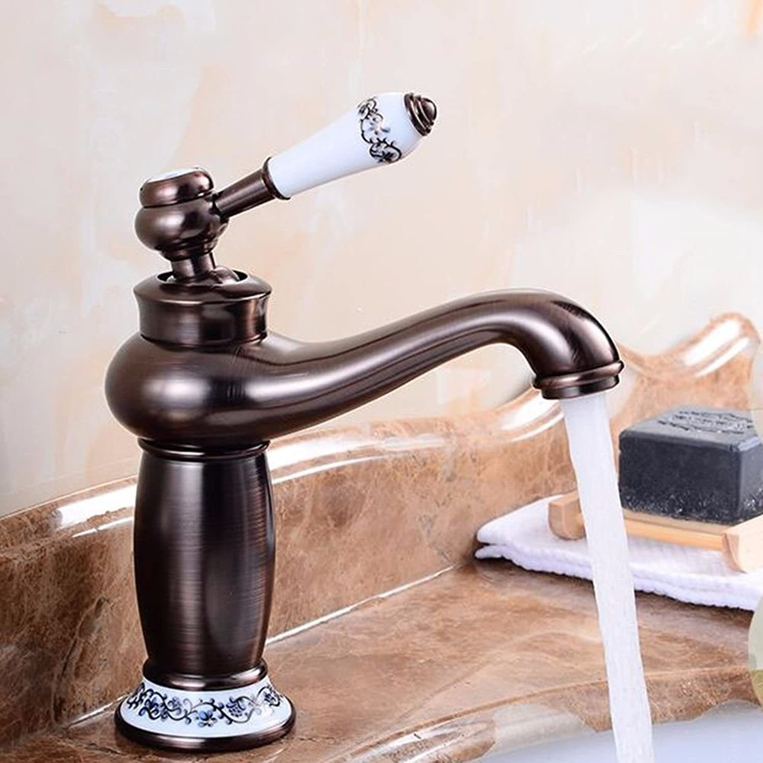 Hlluya Professional Sink Mixer Tap Kitchen Faucet Black antique taps plus high-copper hot and cold basin mixer antique table basin taps, Black