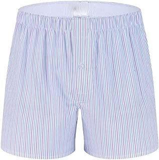 Zzdeshua Men's Fashion Stripe Cotton Soft Boxer Trunks Briefs Casual Funny Home Breathable Button Shorts Underwear