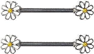 BODYA pair cute double enamel Spring Daisy Flower Nipple Barbell Ring piercing bar stainless steel 14g
