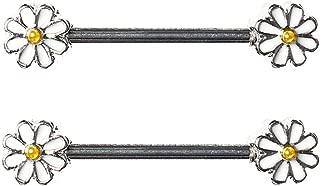 Pair Cute Double Enamel Spring Daisy Flower Nipple Barbell Ring Piercing Bar Stainless Steel 14G