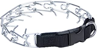 Coastal Pet Easy-On Chrome-Plated Dog Prong Training Collar with Buckle, 3.0 mm links, 18-Inches Girth