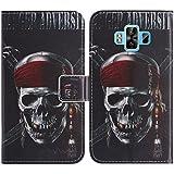 TienJueShi Totenkopf Flip Book-Style Brief Leder Tasche