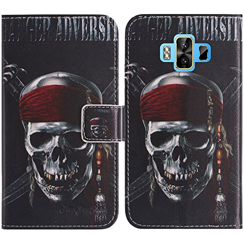 TienJueShi Totenkopf Flip Book-Style Brief Leder Tasche Schutz Hulle Handy Hülle Abdeckung Fall Wallet Cover Etui Skin Fur M-Horse Pure 1 5.7 inch