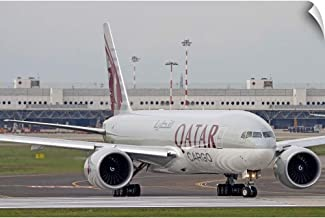 CANVAS ON DEMAND A Qatar Airways Cargo Boeing 777 at Milano Malpensa Airport, Italy Wall Peel Art Print, 48