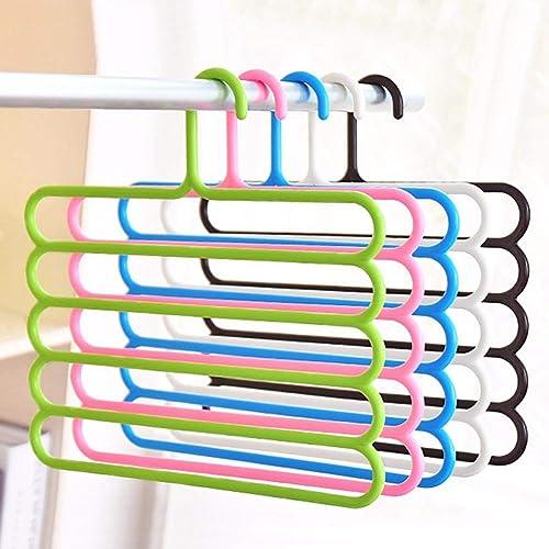 BEST MILEGA Home Appliances 5 Layer Pants Clothes Hanger Wardrobe Storage Organizer Rack Set Of 5 32L X 1B X 36H Cm Made In India