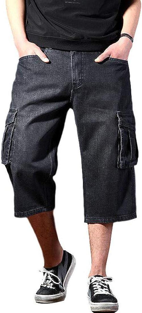 Idopy Men`s Summer Multi-Pockets Thin Regular Fit Denim Cargo Shorts