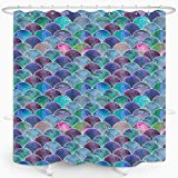ZXMBF Mermaid Scales Shower Curtain Colorful Fish Scales Ocean Theme Fairy Tale for Girl Bathroom Decoration Waterproof Fabric 72x72 Inch Plastic Hooks 12PCS