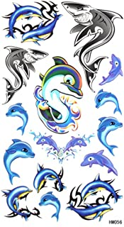 SPESTYLE waterproof non-toxic temporary tattoo stickersLovely personalized waterproof and sweat temp tattoos tattoo blue dolphin shark pattern
