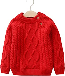Pretifeel Toddler Boys Girls O-Neck Knit Sweater Fall Loose Casual Striped Warm Pullover