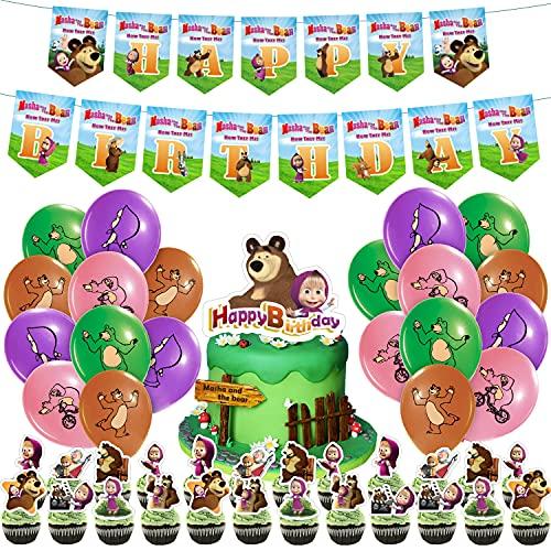 Masha und der Bär Party Supplies Geburtstagsparty-Zubehör HAFTSS,Cartoon-Dekorationen für Kinder,Luftballons,Banner,kleine Kuchenaufsätze,Kuchendekoration,niedliche Dekoration