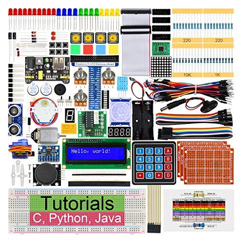 Freenove Ultimate Starter Kit für Raspberry Pi 4 B 3 B+ 400, 434-Seitige Detaillierte Tutorials, Python C Java Code, 223 Elemente, 57 Projekte, Lötfreies Steckbrett