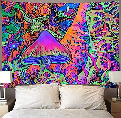 PatTheHook Wandteppiche Tapisserie Wandbehang, Trippige Psychedelische Tapete Wand Hängen Bunte Pilzwald, Große Polyester Art Decor Fabric Für Wohnzimmer Schlafzimmer, 200 × 150 cm