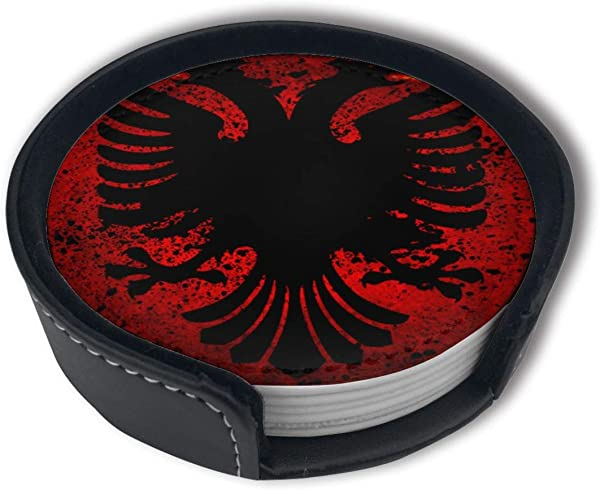 PDUOW Albanian Flag Fire Of Bird Coasters For Drinks PU Leather Coasters With Holder Protect Furniture From Damage 6PCS